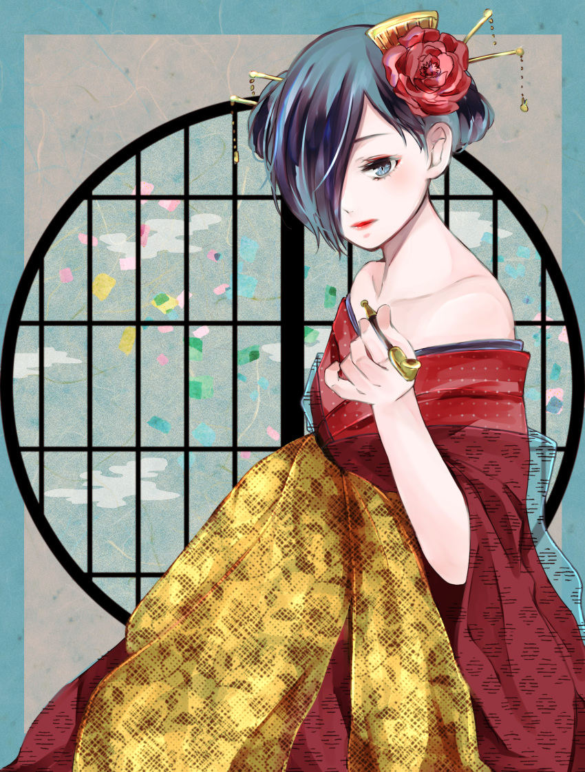1girl absurdres alternate_costume alternate_hairstyle bare_shoulders black_hair blue_eyes collarbone dress flower hair_flower hair_ornament highres holding holding_pipe huge_filesize kirishima_touka orange_dress pipe red_dress red_flower red_lips short_hair solo tokyo_ghoul toukaairab