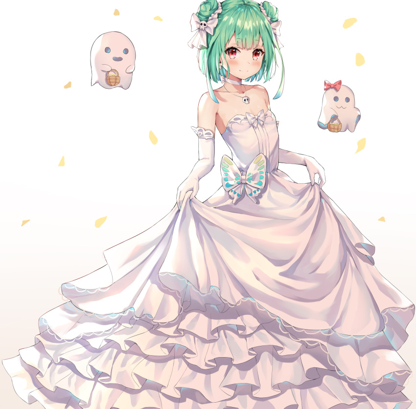 1girl absurdres bare_shoulders basket blush choker closed_mouth collarbone commentary confetti double_bun dress elbow_gloves feet_out_of_frame flat_chest frilled_dress frills ghost gloves green_hair highres hokori_sakuni holding holding_basket hololive layered_dress looking_at_viewer red_eyes short_hair simple_background skull_necklace smile solo strapless uruha_rushia virtual_youtuber wedding_dress white_background white_choker