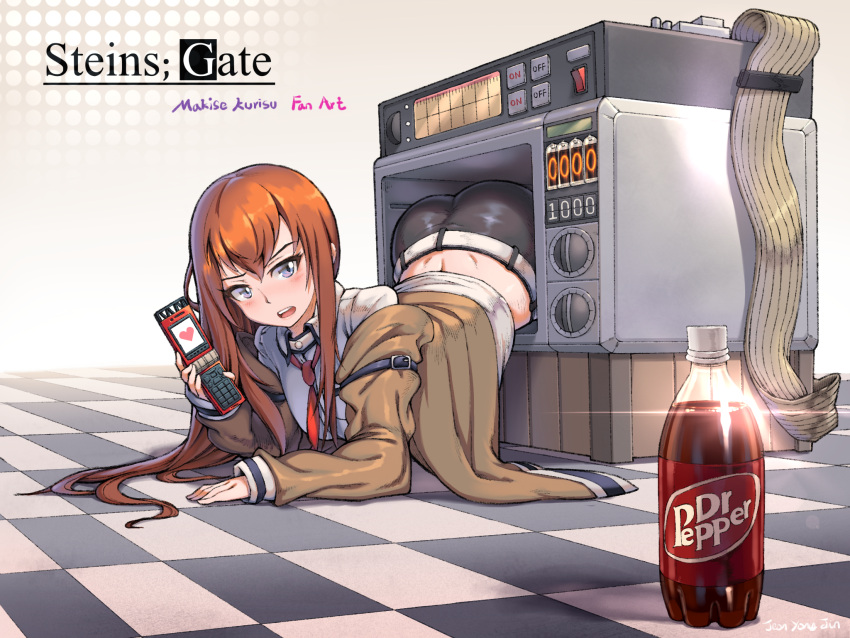 1girl blue_eyes blush brown_hair cellphone commentary_request copyright_name dr_pepper hair_between_eyes highres holding holding_cellphone holding_phone jacket long_hair looking_at_viewer lying makise_kurisu microwave necktie off-shoulder_jacket phone red_neckwear shorts sleeves_past_wrists solo steins;gate totocos7