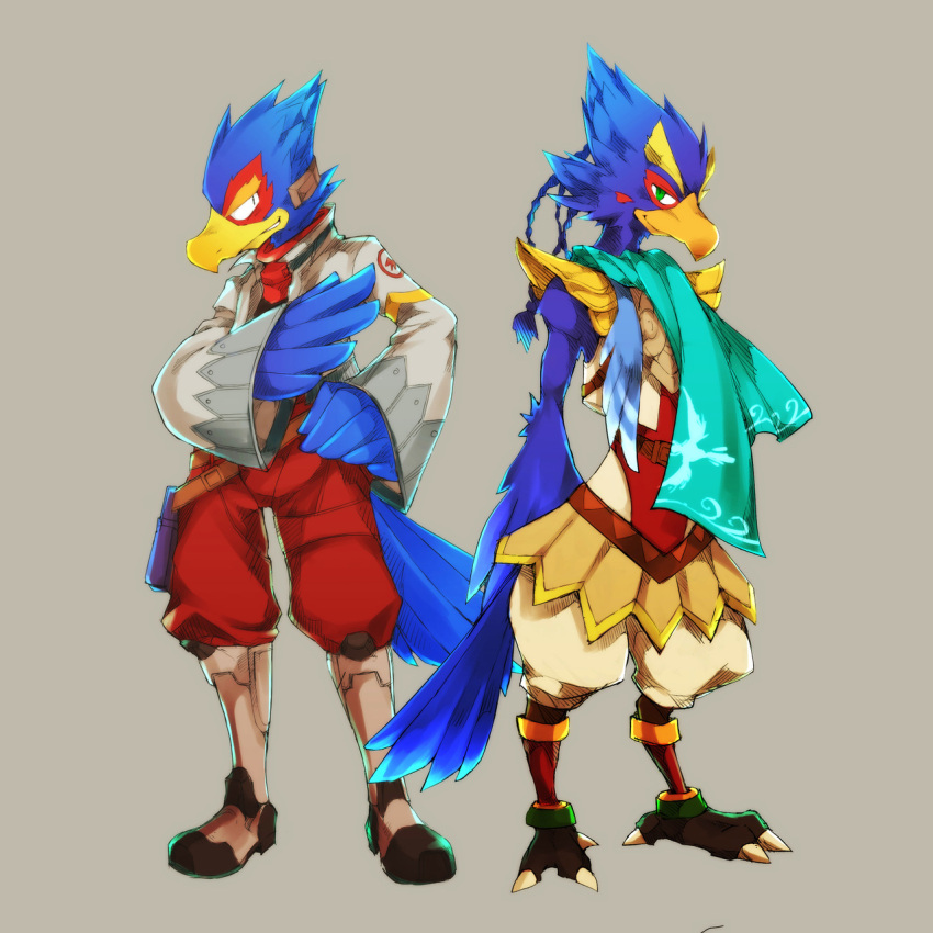 2boys agronaut_software animal armor beak bird boots company_connection falco_lombardi feathers hawk highres jacket look-alike multiple_boys namco nintendo nintendo_ead no_humans platinum_games_inc. q-games rareware revali rio_717 rito scarf star_fox super_smash_bros. the_legend_of_zelda the_legend_of_zelda:_breath_of_the_wild trait_connection ubisoft zelda_no_densetsu