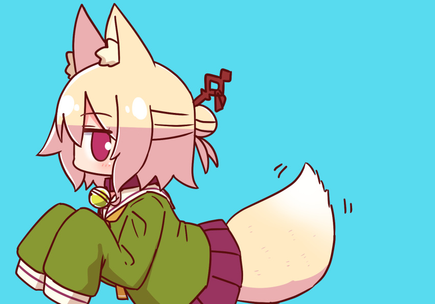1girl animal_ear_fluff animal_ears bangs bell bell_collar blonde_hair blue_background blush brown_collar collar eyebrows_visible_through_hair fox_ears fox_girl fox_tail green_shirt hair_between_eyes hair_bun hair_ornament hands_up highres jingle_bell kemomimi-chan_(naga_u) long_sleeves motion_lines naga_u orange_neckwear original pleated_skirt profile purple_skirt red_eyes sailor_collar shirt sidelocks simple_background skirt sleeves_past_fingers sleeves_past_wrists solo tail tail_wagging white_sailor_collar