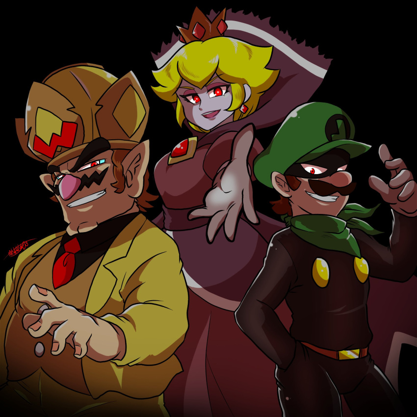 1girl 2boys blonde_hair brown_hair company_connection crown dress earrings evil_smile facial_hair green_headwear green_scarf hat high_collar highres human intelligent_systems jewelry luigi made_in_wario mario_(series) mini_crown mr_l multiple_boys mustache nintendo omu_(sinsindan) outstretched_hand paper_mario paper_mario:_the_thousand_year_door possessed princess_peach purple_dress red_eyes scarf shadow_queen short_hair sidelocks smile spoilers super_paper_mario super_smash_bros. trait_connection wario wario_deluxe warioware