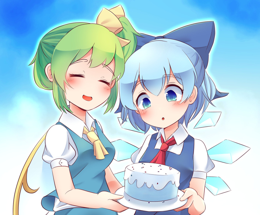 2girls bangs blue_eyes blue_hair blush bow cake cirno closed_eyes daiyousei farrel_kb food green_hair hair_bow highres multiple_girls necktie open_mouth smile the_embodiment_of_scarlet_devil touhou wings