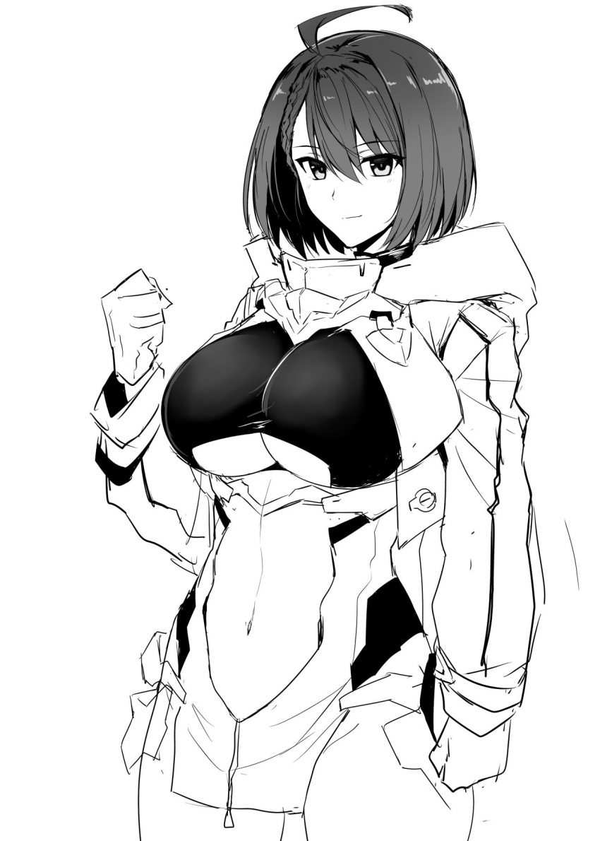 1girl ahoge azur_lane baltimore_(azur_lane) bangs braid breasts center_opening gloves greyscale hair_between_eyes harukon_(halcon) highres hooded_coat large_breasts leotard long_sleeves looking_at_viewer midriff_cutout monochrome navel short_hair simple_background smile solo under_boob white_background