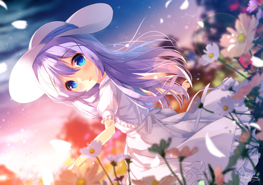 1girl :d apron bangs blue_eyes blue_shirt blurry blurry_background blurry_foreground blush chinomaron commentary_request depth_of_field dutch_angle eyebrows_visible_through_hair field flower flower_field frilled_apron frills gochuumon_wa_usagi_desu_ka? hair_between_eyes hair_ornament hat kafuu_chino long_hair looking_at_viewer looking_to_the_side open_mouth outdoors petals puffy_short_sleeves puffy_sleeves purple_hair shirt short_sleeves signature sky smile solo standing sun_hat sunset very_long_hair white_apron white_flower white_headwear x_hair_ornament
