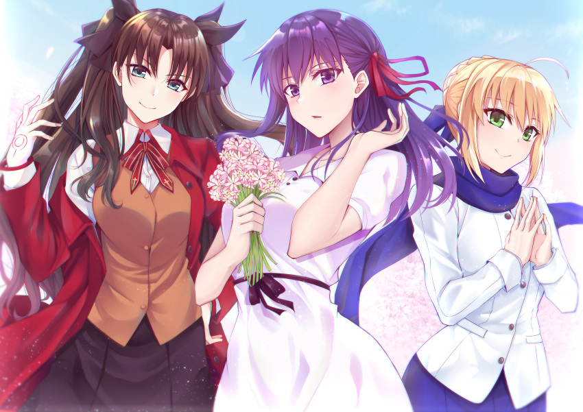 3girls absurdres ahoge artoria_pendragon_(all) bangs black_hair black_skirt blonde_hair blue_eyes blue_ribbon blue_scarf braid breasts commentary cute dress fate/stay_night fate_(series) flower green_eyes gu_li hair_ribbon hands_together heaven's_feel highres holding holding_flower huge_filesize jacket large_breasts long_hair looking_at_viewer matou_sakura multiple_girls outdoors pink_ribbon purple_hair red_jacket red_ribbon ribbon saber scarf short_sleeves skirt smile studio_deen tohsaka_rin toosaka_rin two_side_up type-moon ufotable violet_eyes white_dress white_jacket