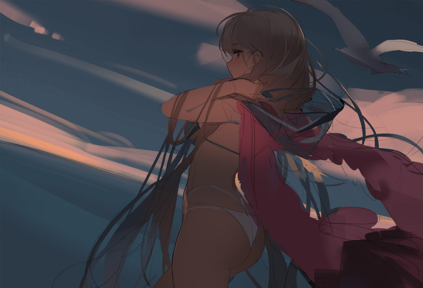 1girl ass azur_lane bikini bird blue_bikini_top clouds cloudy_sky commentary_request evening formidable_(azur_lane) formidable_(the_lady_of_the_beach)_(azur_lane) from_behind grey_hair highres jacket jacket_on_shoulders kinven long_hair ocean outdoors pink_jacket red_eyes seagull sketch sky solo standing swimsuit very_long_hair white_bikini_bottom