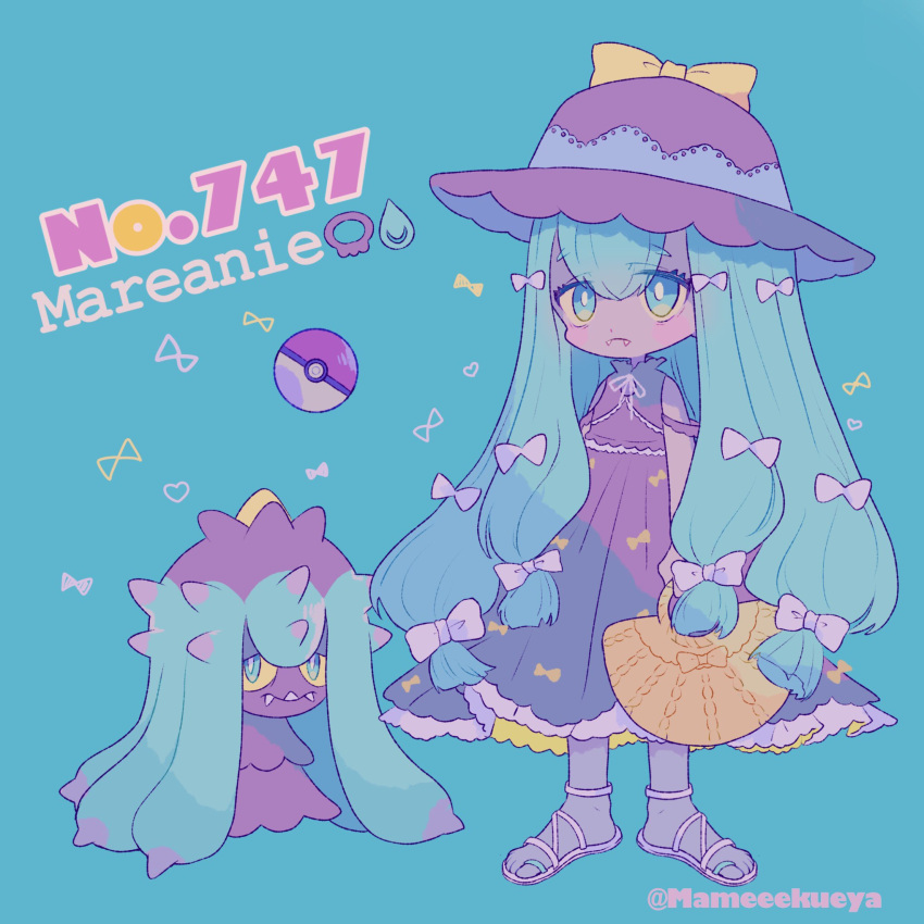 aqua_background aqua_eyes ball bow character_name creature_and_personification dress eyes_visible_through_hair fangs fangs_out frills full_body gen_7_pokemon hair_bow hat highres holding long_hair mameeekueya mareanie number personification poke_ball poke_ball_(generic) pokemon pokemon_(creature) pokemon_number purple_dress sandals simple_background sleeveless sleeveless_dress standing twitter_username very_long_hair white_bow yellow_sclera