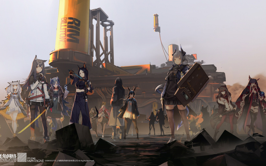 6+girls absurdres amiya_(arknights) animal_ears arknights axe battle_axe bear_ears boots card character_request combat_knife dusk fingerless_gloves gloves gun handgun hexagon high_heels highres hood hooded_jacket horns horse_ears jacket knife lanyard multiple_girls name_tag official_art pantyhose rabbit_ears riot_shield shoes sneakers staff tarot thigh-highs veil wallpaper weapon whip