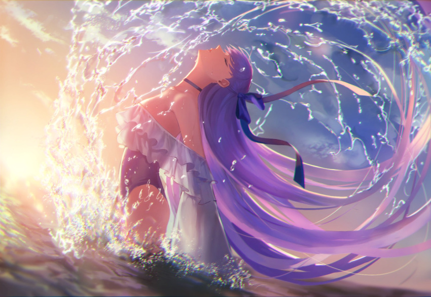1girl bare_shoulders blue_choker blue_ribbon blue_swimsuit breasts choker closed_eyes dutch_angle fate/grand_order fate_(series) frills hair_flip highleg highleg_swimsuit highres long_hair medium_breasts meltryllis meltryllis_(swimsuit_lancer)_(fate) one-piece_swimsuit outdoors partially_submerged purple_hair ribbon solo splashing strapless strapless_swimsuit swimsuit very_long_hair water wet zonotaida