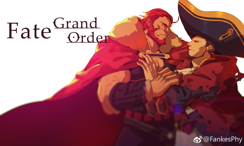 absurdres bara beard belt blue_eyes brown_hair cape chest epaulettes facial_hair fate/grand_order fate_(series) guoguo hand_on_another's_arm hand_on_another's_chest highres large_hat long_sleeves looking_at_another male_focus multiple_boys muscle napoleon_bonaparte_(fate/grand_order) pants pectorals red_eyes redhead rider_(fate/zero) simple_background smile uniform white_background wrinkles