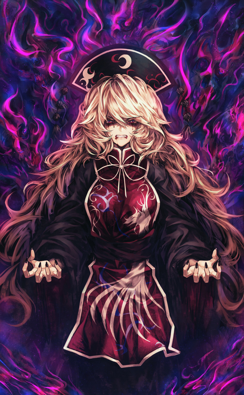 1girl absurdres angry animal_print arms_up black_dress black_headwear black_nails blonde_hair blood blood_from_mouth bloody_tears bright_pupils clenched_teeth cowboy_shot dress energy fingernails hair_between_eyes hat high_collar highres joker_(stjoker) junko_(touhou) long_hair pom_pom_(clothes) red_eyes ribbon scowl shaded_face sharp_fingernails sharp_teeth solo standing tabard teeth touhou tsurime very_long_hair yellow_neckwear yellow_ribbon