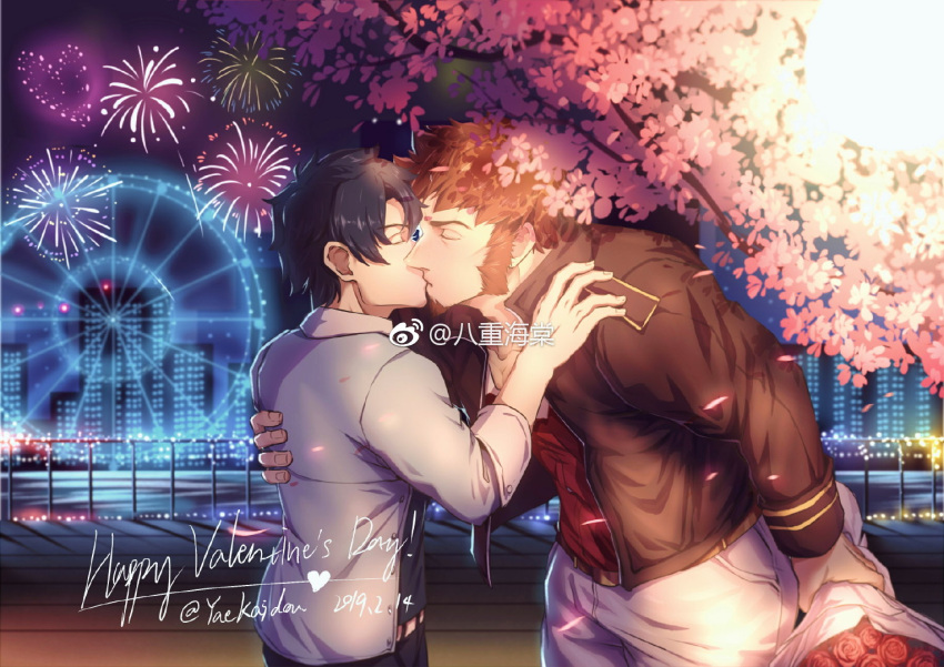 2boys bangs beard black_hair brown_hair cherry_blossoms chest closed_eyes facial_hair fate/grand_order fate_(series) flower fujimaru_ritsuka_(male) kiss male_focus multiple_boys muscle napoleon_bonaparte_(fate/grand_order) shirt sleeves_rolled_up tree valentine yaoi yaosan233