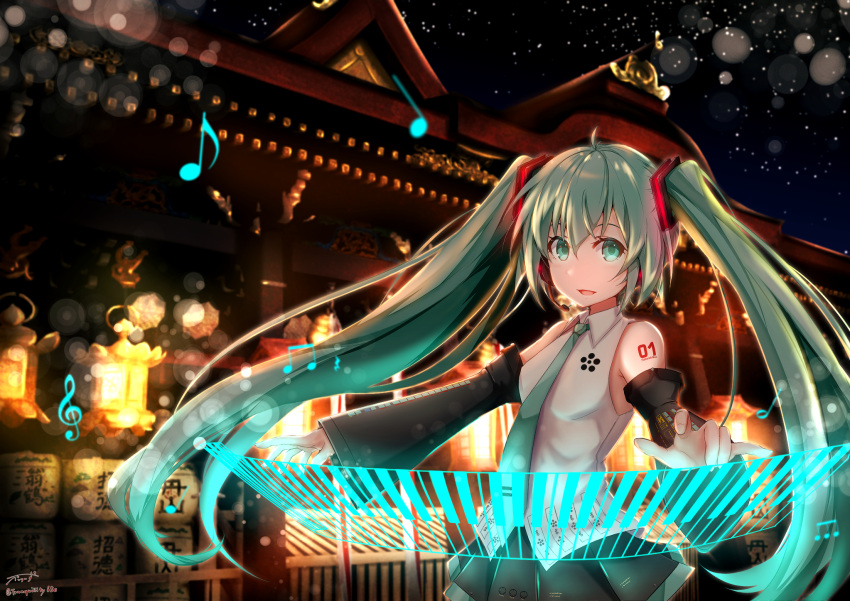 1girl artist_name baileys_(tranquillity650) collared_shirt commentary_request detached_sleeves eighth_note eyebrows_visible_through_hair floating_hair green_eyes green_hair green_neckwear green_skirt hair_between_eyes hair_ornament half_note hatsune_miku headphones highres instrument keyboard_(instrument) lantern light_particles long_hair looking_at_viewer musical_note necktie night night_sky outdoors outstretched_arms quarter_note shirt shrine signature skirt sky sleeveless sleeveless_shirt solo twintails very_long_hair vocaloid white_shirt