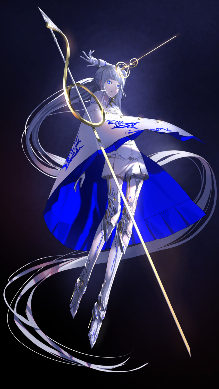 1girl absurdly_long_hair arms_up blue_eyes capelet expressionless full_body gloves gold_trim gradient gradient_background headpiece highres jacket long_hair long_legs looking_at_viewer original ponytail prosthesis prosthetic_leg shorts sword treble_clef tsuki-shigure very_long_hair weapon white_gloves white_hair white_jacket white_shorts