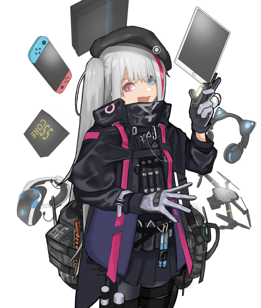 1girl absurdres black_gloves black_headwear blue_eyes cellphone fang flasso flip_phone game_console girls_frontline gloves grey_gloves hat headphones heterochromia highres holding holding_phone ipad mdr_(girls_frontline) multicolored multicolored_clothes multicolored_gloves multicolored_hair nintendo_switch open_mouth phone pink_eyes pink_hair playstation_4 playstation_vr side_ponytail simple_background slit_pupils solo standing tablet_pc white_background white_hair