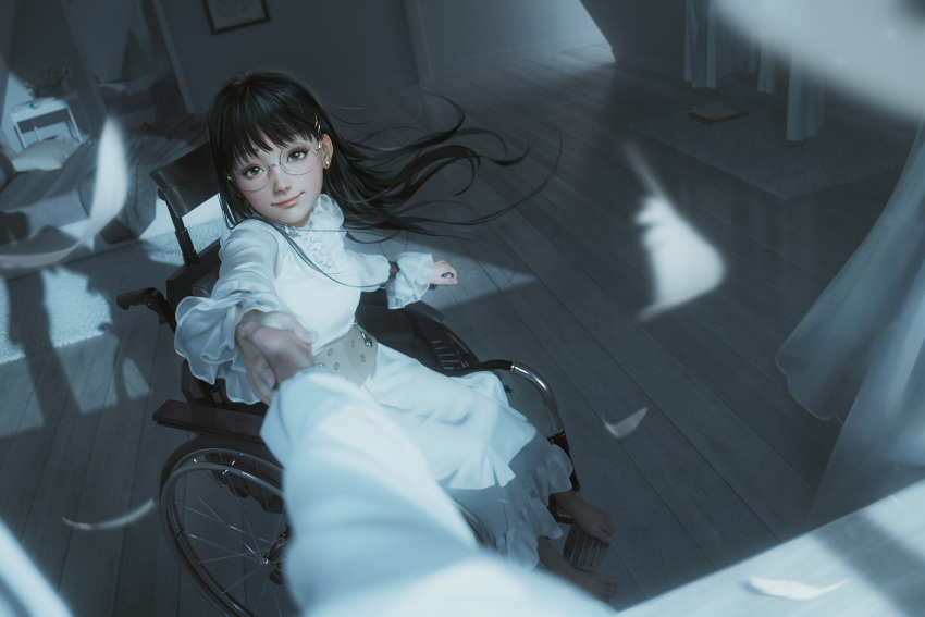 1girl bangs barefoot bed black_hair blunt_bangs curtains dress earrings feathers frills from_outside glasses glint grey_theme hair_ornament hairclip highres holding_hands indoors jewelry long_dress long_hair long_sleeves looking_at_viewer night original outstretched_arm outstretched_hand pov pov_hands realistic rimless_eyewear rui_li shadow sitting smile solo_focus stud_earrings wheelchair white_dress wooden_floor
