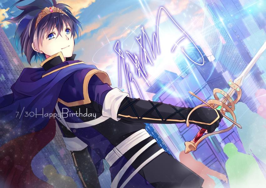 1boy aoi_itsuki belt blue_eyes blue_hair cape clouds gen'ei_ibunroku_sharp_fe gloves happy_birthday shirayuki_shion sky solo sword tiara weapon