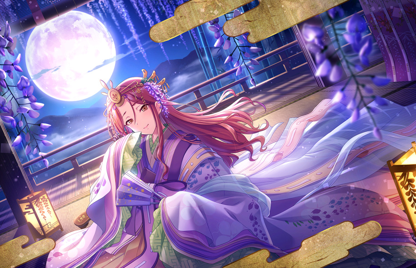 blush brown_eyes brown_hair idolmaster_cinderella_girls_starlight_stage long_hair smile yukata zaizen_tokiko