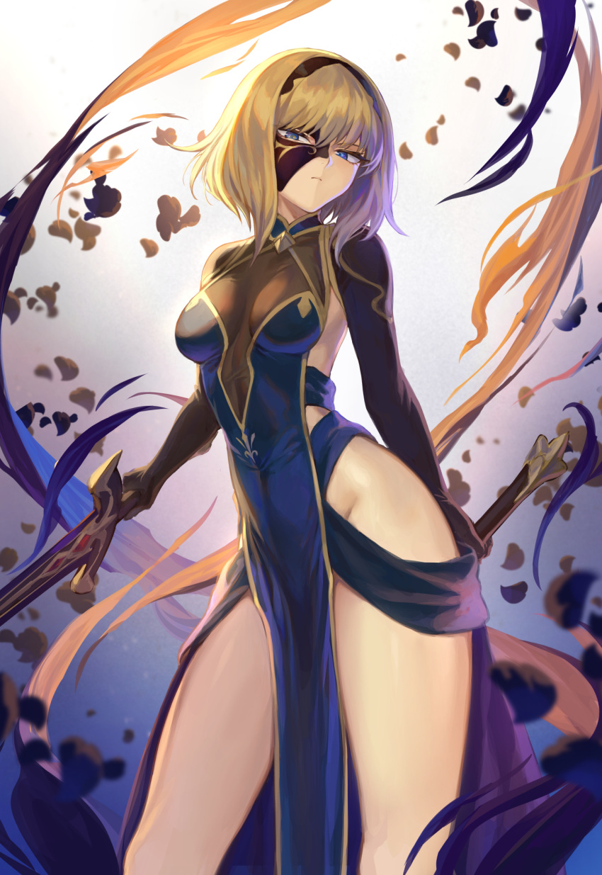 1girl bangs blonde_hair blue_dress blue_eyes breasts contrapposto dress dual_wielding expressionless groin hairband half_mask highres holding looking_at_viewer mashuu_(neko_no_oyashiro) mask medium_breasts original pelvic_curtain petals short_hair sidelocks solo sword thighs tsurime weapon wind