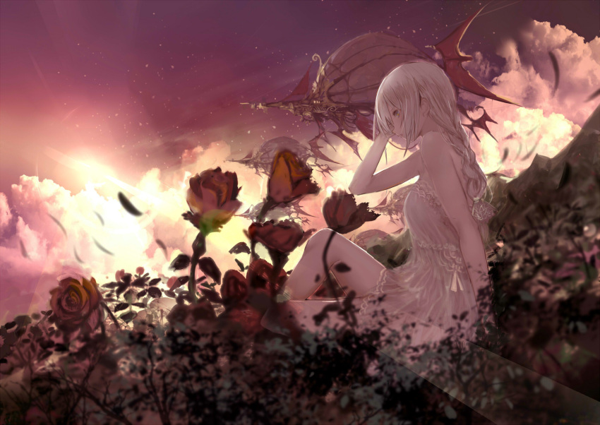 1girl aircraft airship bangs bare_arms bare_shoulders blurry blurry_foreground braid breasts clouds commentary_request depth_of_field dress flower grey_eyes hair_between_eyes hand_up highres knee_up long_hair original outdoors petals red_flower red_rose rose shiabisu single_braid sitting sky small_breasts solo white_dress white_hair