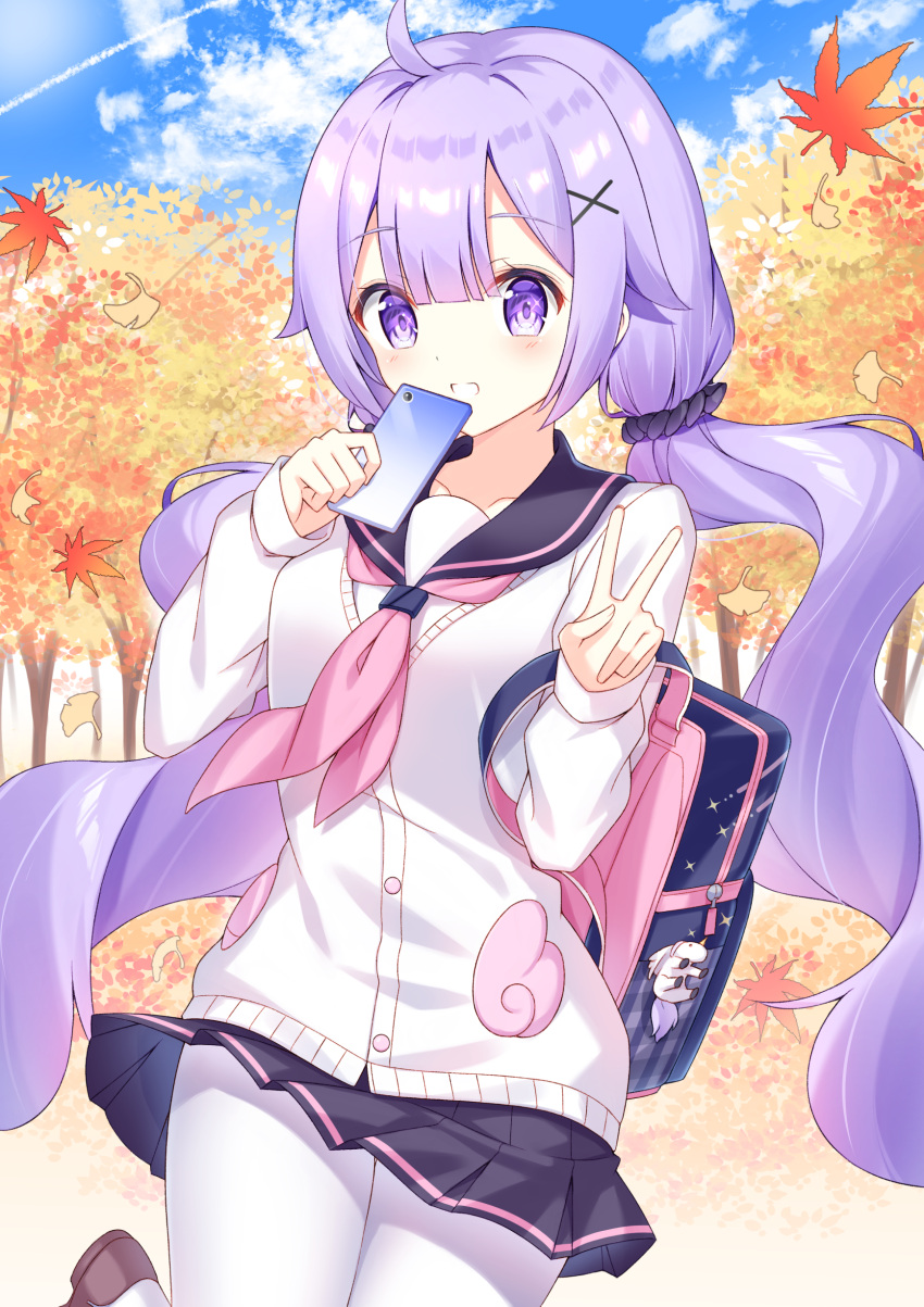 1girl :d absurdres autumn_leaves azur_lane backpack bag bag_charm bangs black_sailor_collar black_scrunchie black_skirt blue_sky blush cardigan cellphone charm_(object) clouds cloudy_sky collarbone commentary_request day eyebrows_visible_through_hair hair_between_eyes hair_ornament hair_scrunchie hands_up highres holding holding_cellphone holding_phone leaf long_hair long_sleeves looking_at_viewer low_twintails maple_leaf neckerchief open_mouth outdoors pantyhose phone pink_neckwear pleated_skirt purple_hair sailor_collar school_uniform scrunchie serafuku shirt skirt sky sleeves_past_wrists smile solo takeg05 twintails unicorn_(amusement_park_date)_(azur_lane) unicorn_(azur_lane) v very_long_hair violet_eyes white_cardigan white_legwear white_shirt x_hair_ornament