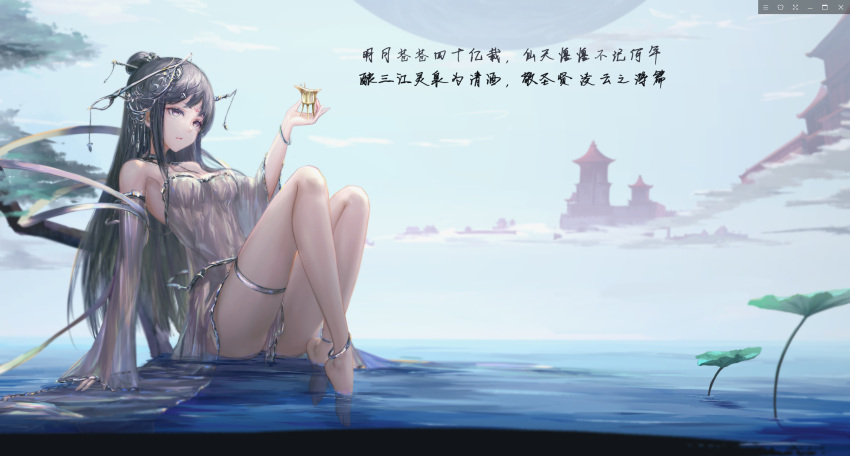 1girl anklet bare_shoulders barefoot black_hair bracelet building choker commentary_request detached_sleeves dress facial_mark forehead_mark hair_bun hair_ornament highres jewelry long_hair original outdoors see-through sitting solo thigh_strap translation_request violet_eyes wangchuan_de_quanyan water