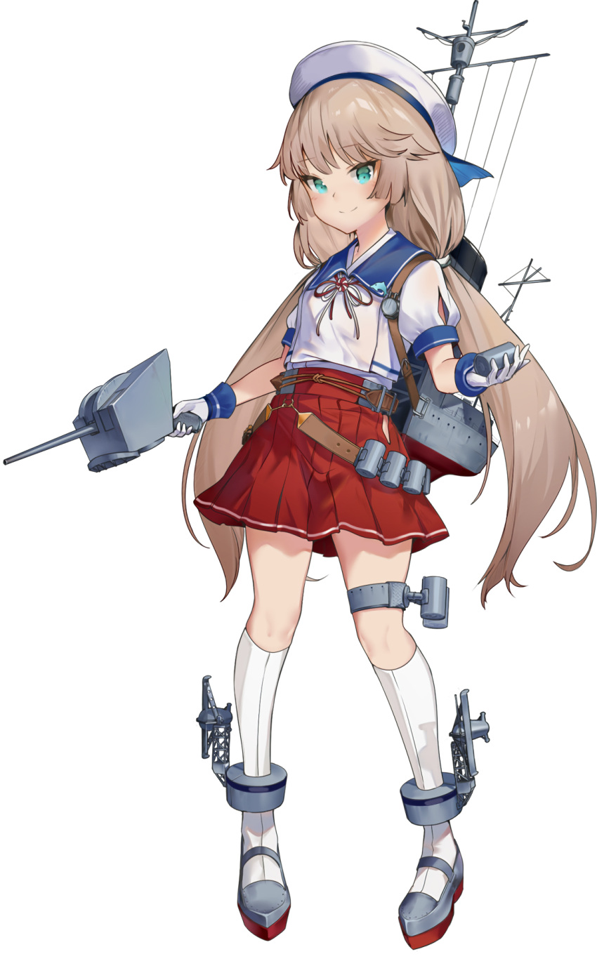 1girl adapted_turret blue_sailor_collar blush_stickers cannon derivative_work full_body green_eyes grey_hair gun hat highres hip_vent kantai_collection long_hair low_twintails machinery mary_janes mikura_(kantai_collection) pleated_skirt puffy_short_sleeves puffy_sleeves red_skirt sailor_collar sailor_hat school_uniform serafuku shoes short_sleeves skirt socks solo transparent_background turret twintails underwear weapon white_headwear white_legwear yamano_(yamanoh)