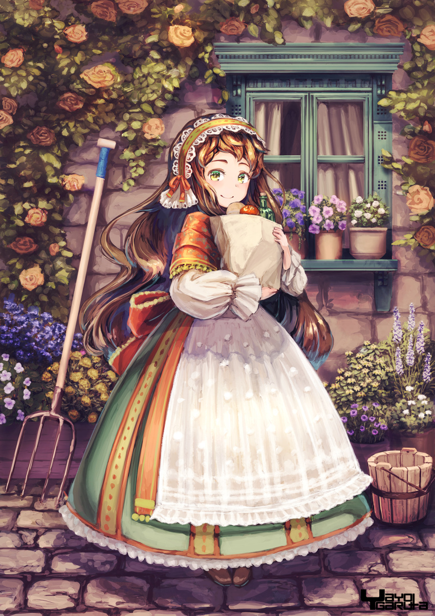 1girl apple apron artist_name bag baguette bottle bread brick_wall brown_hair bucket commentary_request day dress flower flower_pot food fruit garutaisa green_dress green_eyes grocery_bag hairband highres holding holding_bag hoop_skirt lilac lolita_hairband long_hair long_sleeves looking_at_viewer orange_flower orange_rose original outdoors pitchfork plant planter potted_plant red_flower red_rose rose sett shawl shopping_bag smile solo standing thick_eyebrows traditional_clothes very_long_hair white_apron window windowsill