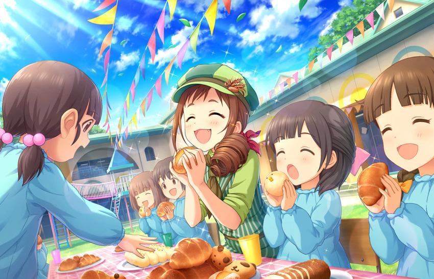 blush bread brown_hair closed_eyes eating food idolmaster_cinderella_girls_starlight_stage oohara_michiru short_hair smile
