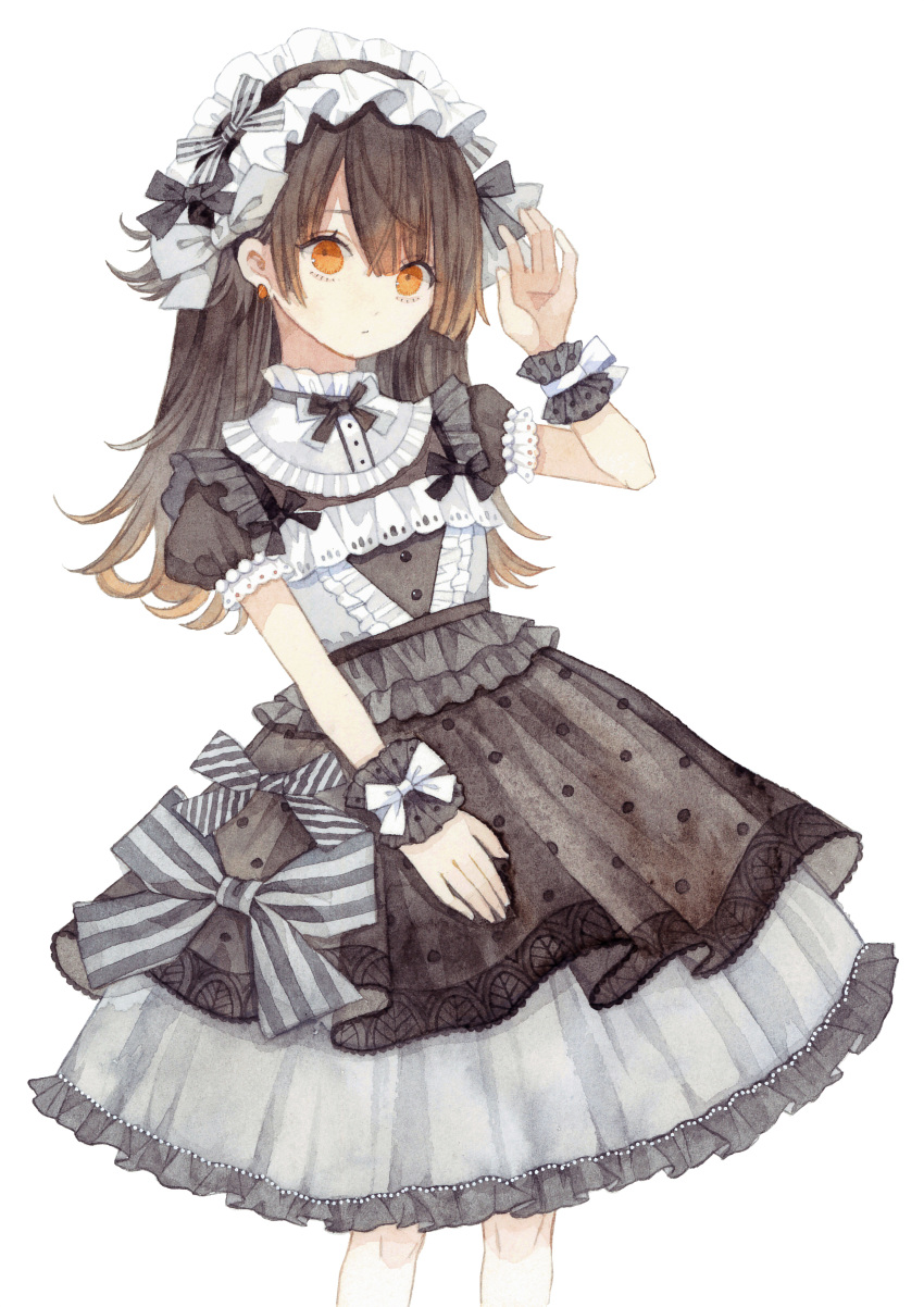 1girl absurdres bangs black_bow black_dress bow brown_eyes brown_hair commentary_request dress earrings expressionless frilled_dress frilled_hairband frilled_shirt_collar frills gothic_lolita grey_bow hair_bow hairband hand_up highres jewelry lolita_fashion lolita_hairband long_hair looking_at_viewer original short_sleeves simple_background solo striped striped_bow traditional_media uni_(setsuna_gumi39) watercolor_(medium) white_background white_bow wrist_bow wrist_cuffs