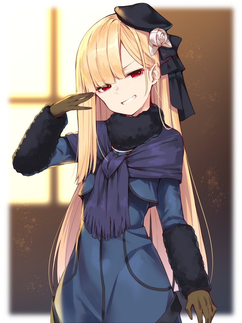 1girl alternate_eye_color black_headwear blonde_hair blue_dress blue_scarf blurry blurry_background blush brown_gloves depth_of_field dress fate_(series) fringe_trim fur_collar gloves grin hand_up hat hat_ribbon head_tilt highres long_hair looking_at_viewer lord_el-melloi_ii_case_files red_eyes reines_el-melloi_archisorte ribbon scarf smile solo standing teeth upper_body v-shaped_eyebrows very_long_hair window yuuuuu