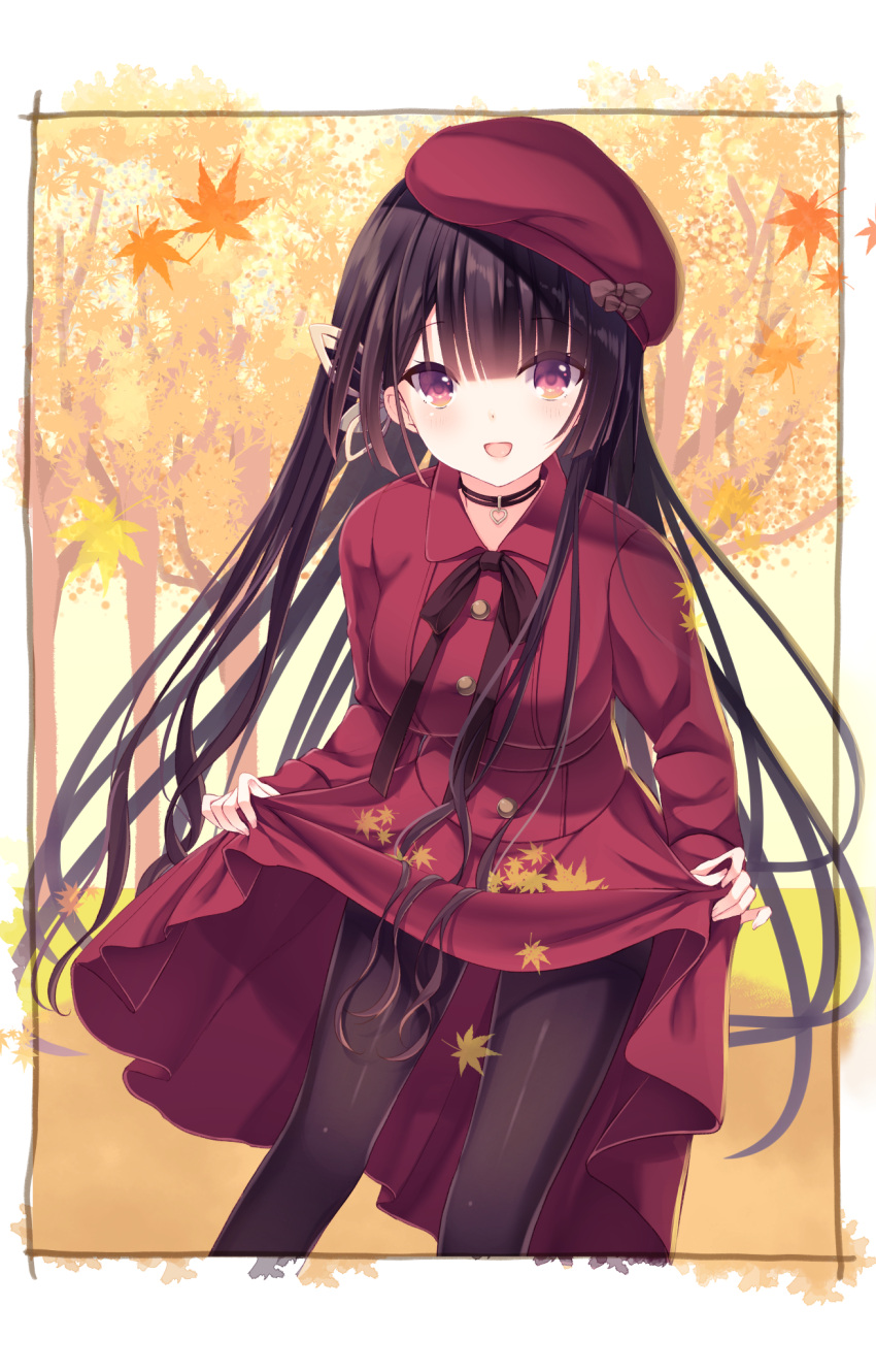 1girl :d autumn_leaves bangs beret black_hair black_legwear blush bow brown_bow butterfly_hair_ornament commentary_request dress dutch_angle eyebrows_visible_through_hair fingernails hair_ornament hat hat_bow heart highres kinoko5123 leaf long_hair long_sleeves looking_at_viewer maple_leaf nail_polish open_mouth original pantyhose pink_nails red_dress red_eyes red_headwear skirt_basket smile solo tilted_headwear very_long_hair