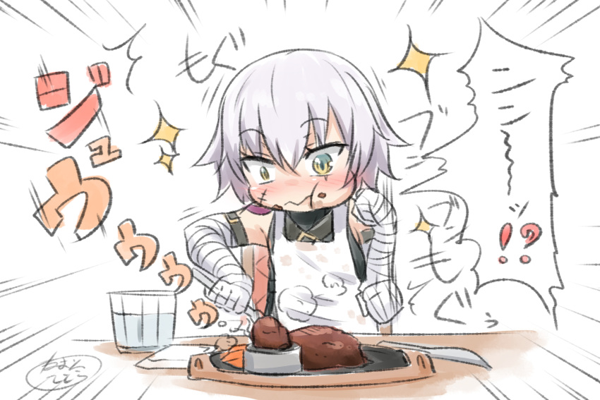 /\/\/\ 1girl :t afterimage apron bandaged_arm bandaged_hands bandages bangs bare_shoulders black_shirt blush closed_mouth cup drinking_glass emphasis_lines eyebrows_visible_through_hair facial_scar fate/apocrypha fate_(series) food food_on_face fork hair_between_eyes highres holding holding_fork jack_the_ripper_(fate/apocrypha) knife neon-tetora nose_blush scar scar_across_eye scar_on_cheek shirt signature silver_hair simple_background sleeveless sleeveless_shirt solo sparkle table translation_request water wavy_mouth white_apron white_background