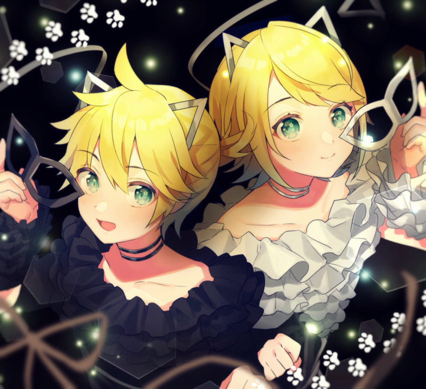 1boy 1girl :d ahoge animal_ears aqua_eyes bangs black_background black_choker black_shirt blonde_hair brother_and_sister cat_ears choker clenched_hand detached_sleeves fake_animal_ears frilled_shirt frilled_sleeves frills highres holding holding_mask kagamine_len kagamine_rin looking_at_viewer mask masquerade_mask open_mouth paw_print ponytail shinotarou_(nagunaguex) shirt short_hair siblings smile swept_bangs twins upper_body vocaloid white_choker white_shirt
