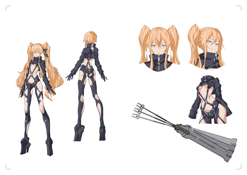 1girl absurdres ass black_gloves black_legwear black_ribbon blonde_hair breasts cancell character_sheet closed_mouth full_body gloves hair_ornament hair_ribbon high_heels highres impossible_clothes long_hair looking_at_viewer mecha_musume medium_breasts navel open_mouth original ribbon science_fiction short_hair smelling solo strap thigh-highs twintails weapon yellow_eyes