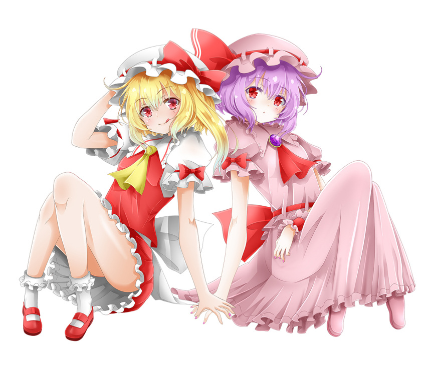 2girls :/ :q arm_across_waist blonde_hair blouse blush bobby_socks bow brooch commentary_request cravat eyebrows_visible_through_hair flandre_scarlet frilled_skirt frills hair_between_eyes hand_on_headwear hands_together hat hat_ribbon head_tilt jewelry knees_together_feet_apart knees_up long_skirt looking_at_viewer makoto5391 mary_janes mob_cap multiple_girls no_wings petticoat pink_blouse pink_footwear pink_headwear pink_nails pink_skirt puffy_short_sleeves puffy_sleeves purple_hair red_bow red_eyes red_footwear red_neckwear red_skirt red_vest remilia_scarlet ribbon shirt shoes short_hair short_sleeves siblings side-by-side side_ponytail simple_background sisters sitting skirt socks tongue tongue_out touhou vest white_background white_headwear white_legwear white_shirt wrist_cuffs yellow_neckwear