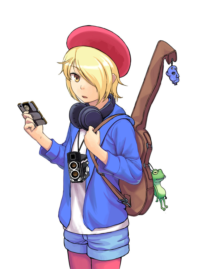 androgynous bag_charm blonde_hair blue_jacket blue_shorts brown_eyes camera cellphone character_request charm_(object) copyright_request hair_over_one_eye hat headphones headphones_around_neck highres holding holding_cellphone holding_phone imizu_futoshi instrument_case jacket long_sleeves looking_at_viewer pantyhose phone pink_legwear red_headwear shirt short_shorts shorts simple_background smartphone standing stuffed_animal stuffed_frog stuffed_toy white_background white_shirt