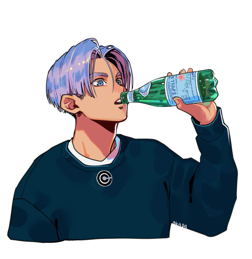 1boy blue_eyes blue_shirt bottle capsule_corp casual close-up dragon_ball dragon_ball_z drinking expressionless fingernails hair_between_eyes highres holding lavender_hair long_sleeves looking_away male_focus okada_(hoooojicha) open_mouth outstretched_arm product_placement purple_hair s.pellegrino shirt short_hair simple_background solo sweater thick_eyebrows trunks_(future)_(dragon_ball) twitter_username upper_body upper_teeth water_bottle white_background white_shirt