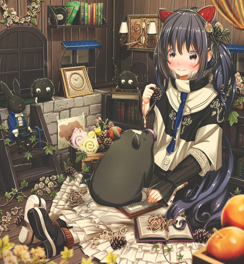 1girl abo_(kawatasyunnnosukesabu) animal animal_ears animal_on_lap autumn bangs black_eyes black_footwear blue_neckwear blush book bookshelf candy cat_ears clock commentary_request fake_animal_ears flower food frilled_skirt frills hair_flower hair_ornament highres holding jacket lamp lollipop long_hair long_sleeves mismatched_footwear necktie nose_blush number_pun open_book original pig pinecone plant shoes short_over_long_sleeves short_sleeves sidelocks sitting skirt smile solo stepladder stone_wall stuffed_animal stuffed_bunny stuffed_toy tie_clip twintails very_long_hair vines wall white_footwear white_skirt window