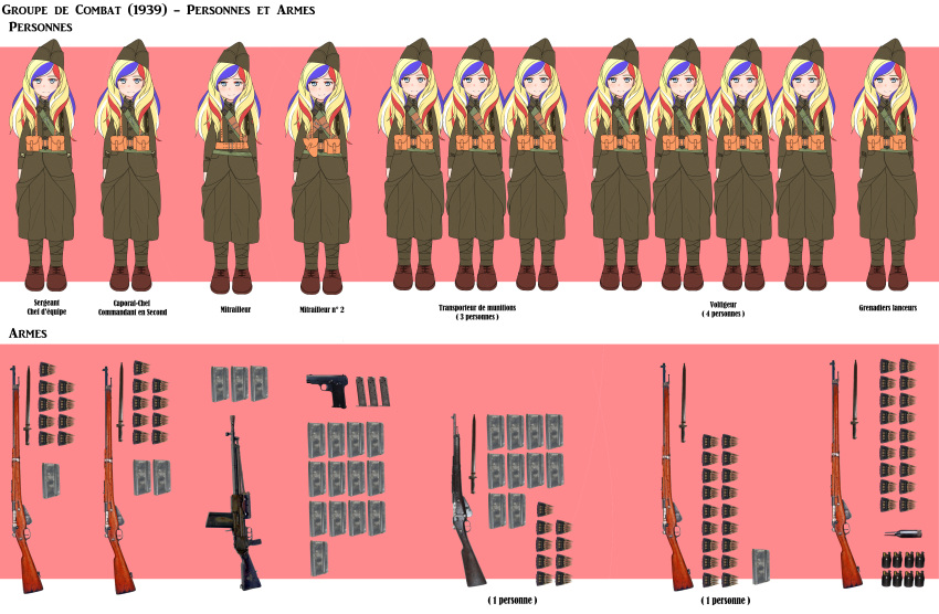 absurdres ammunition ammunition_pouch bayonet beret blonde_hair bolt_action boots bullet canteen cartridge clip_(weapon) commandant_teste_(kantai_collection) gun handgun hat helmet highres kantai_collection load_bearing_equipment long_hair machine_gun magazine_(weapon) military military_uniform multicolored_hair nb_(pixiv594732) pistol pouch rifle sling soldier streaked_hair uniform weapon world_war_ii