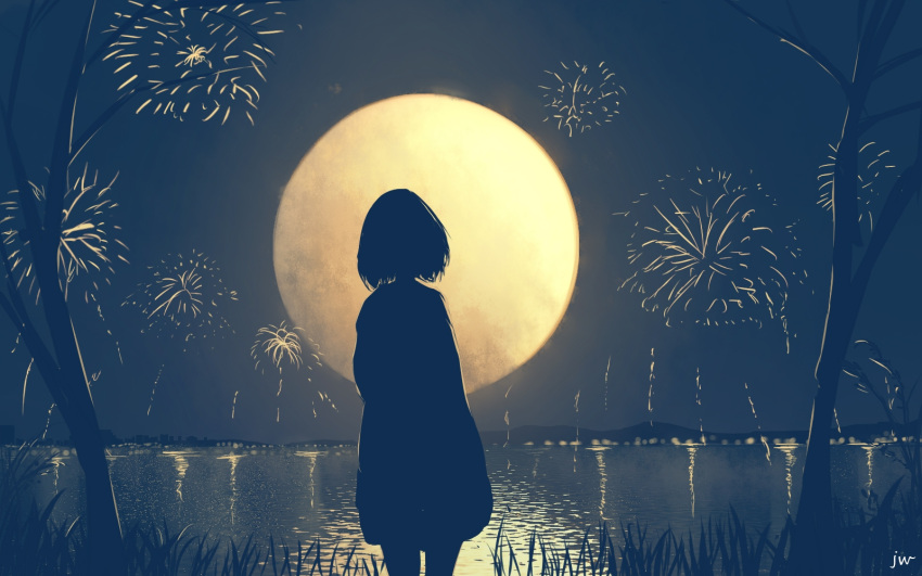 1girl backlighting bare_tree city city_lights dark dress fireworks from_behind full_moon grass highres hill horizon lake moon night original reflection scenery short_hair signature silhouette sky skyrick9413 solo tree