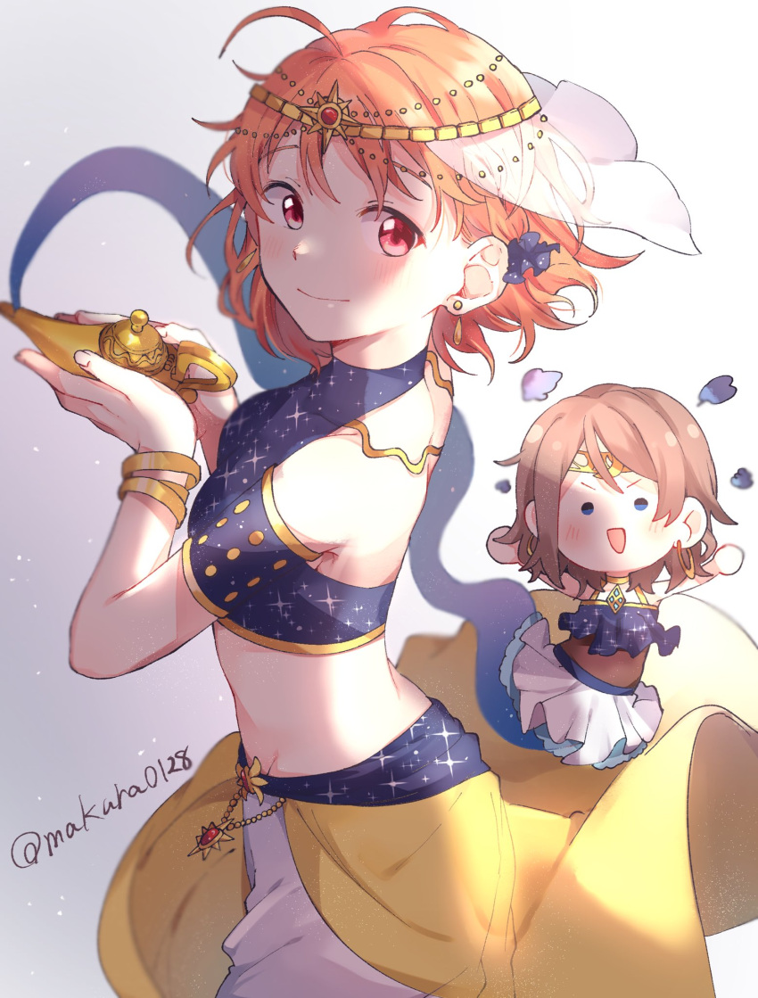 2girls :d \o/ arabian_clothes armlet arms_up back_cutout bangs blue_eyes blue_scrunchie bracelet braid brown_hair circlet commentary_request crop_top earrings genie hair_ornament hair_scrunchie halterneck highres hoop_earrings jewelry looking_at_viewer looking_back love_live! love_live!_sunshine!! makura_(makura0128) multiple_girls oil_lamp open_mouth orange_hair outstretched_arms red_eyes scrunchie short_hair side_braid skirt smile sparkle_print takami_chika twitter_username v-shaped_eyebrows watanabe_you white_skirt