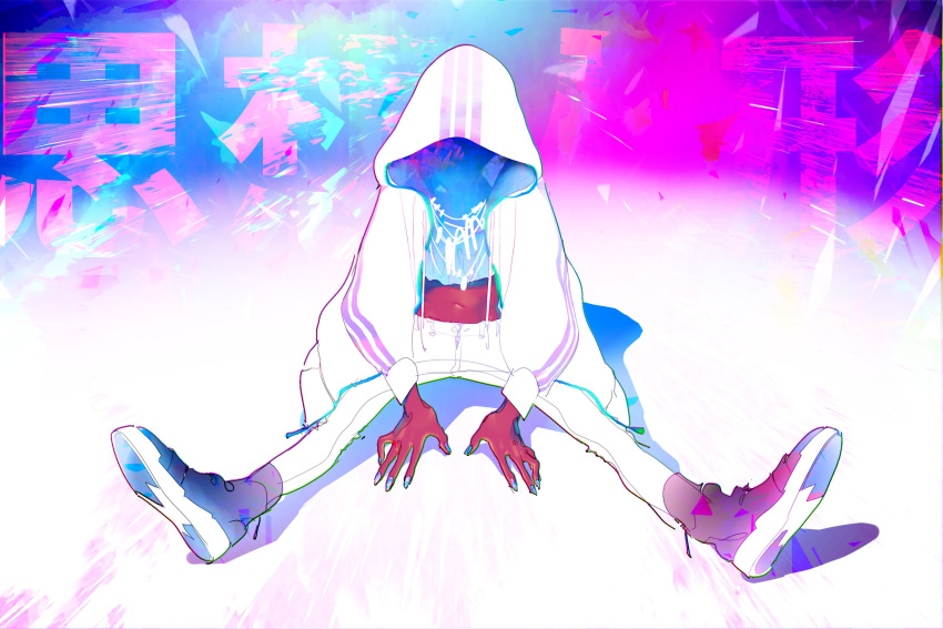 1girl black_footwear blue_nails glowing glowing_jewelry highres hood hood_up hoodie jewelry navel necklace original red_skin ryu_ll shaded_face sitting solo white_hoodie white_legwear