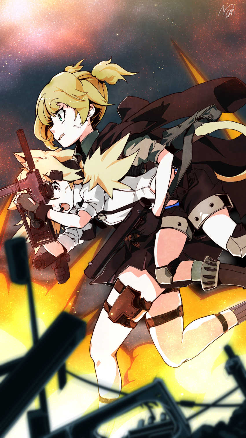 2girls absurdres animal_ear_fluff animal_ears bangs black_gloves black_shorts black_skirt blonde_hair carrying cat_ears cat_tail explosion girls_frontline gloves gun handgun highres holding holding_gun holding_weapon holster idw_(girls_frontline) jacket jacket_on_shoulders long_hair mineta_naoki multiple_girls open_mouth outdoors running shirt shorts signature skirt sky star_(sky) starry_sky submachine_gun suspender_shorts suspenders sweat tail thigh_strap vest wavy_mouth weapon welrod_mk2 welrod_mk2_(girls_frontline)