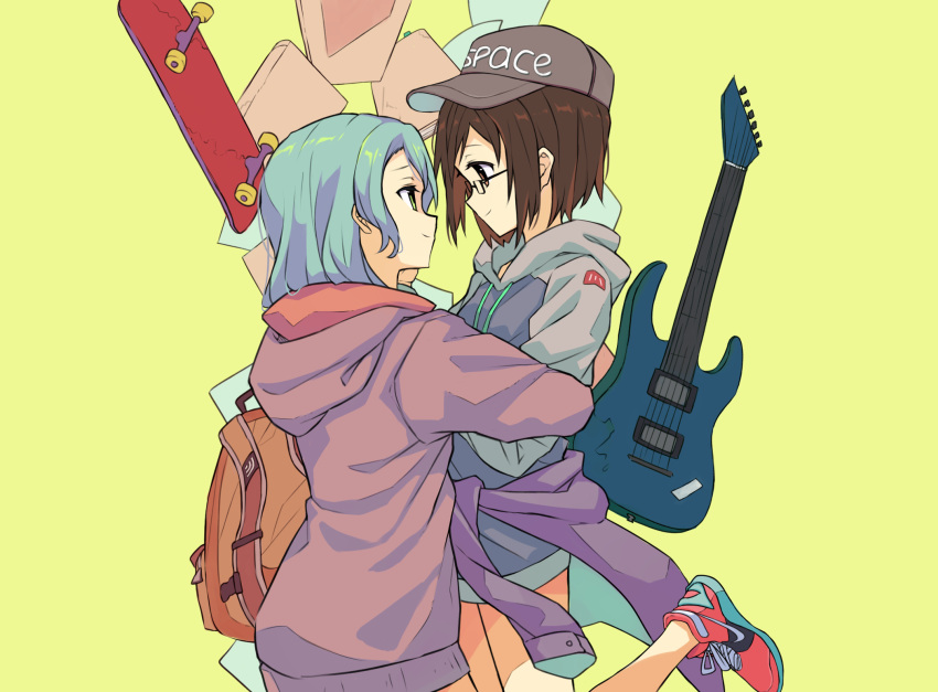 2girls aqua_hair backpack bag bang_dream! baseball_cap bespectacled black_headwear book brown_eyes brown_hair clothes_around_waist cyan_aeolin electric_guitar face-to-face from_side glasses green_eyes guitar hat hazawa_tsugumi headwear_writing highres hikawa_sayo hood hood_down hoodie hug instrument jacket_around_waist looking_at_another multiple_girls red_footwear shoes simple_background skateboard smile sneakers yellow_background yuri
