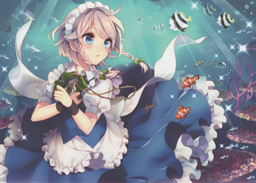 1girl absurdres air_bubble apron bangs blue_eyes blue_skirt blue_vest blush bow bowtie braid bubble clownfish cowboy_shot eyebrows_visible_through_hair fish frills green_bow green_neckwear hair_bow hair_ornament highres huge_filesize izayoi_sakuya maid maid_apron maid_headdress masaru.jp open_mouth petticoat pocket_watch puffy_short_sleeves puffy_sleeves ribbon scan shirt short_hair short_sleeves silver_hair skirt skirt_set solo sparkle touhou twin_braids twitter_username underwater vest waist_apron watch white_apron wristband