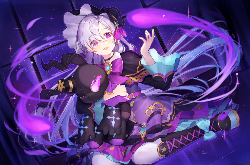 1girl black_headwear bow brooch cross-laced_footwear gears hair_over_one_eye hand_up highres ion_(on01e) jewelry king's_raid long_sleeves looking_at_viewer magic open_mouth purple_bow purple_flame silver_hair sitting solo stuffed_toy violet_eyes white_legwear