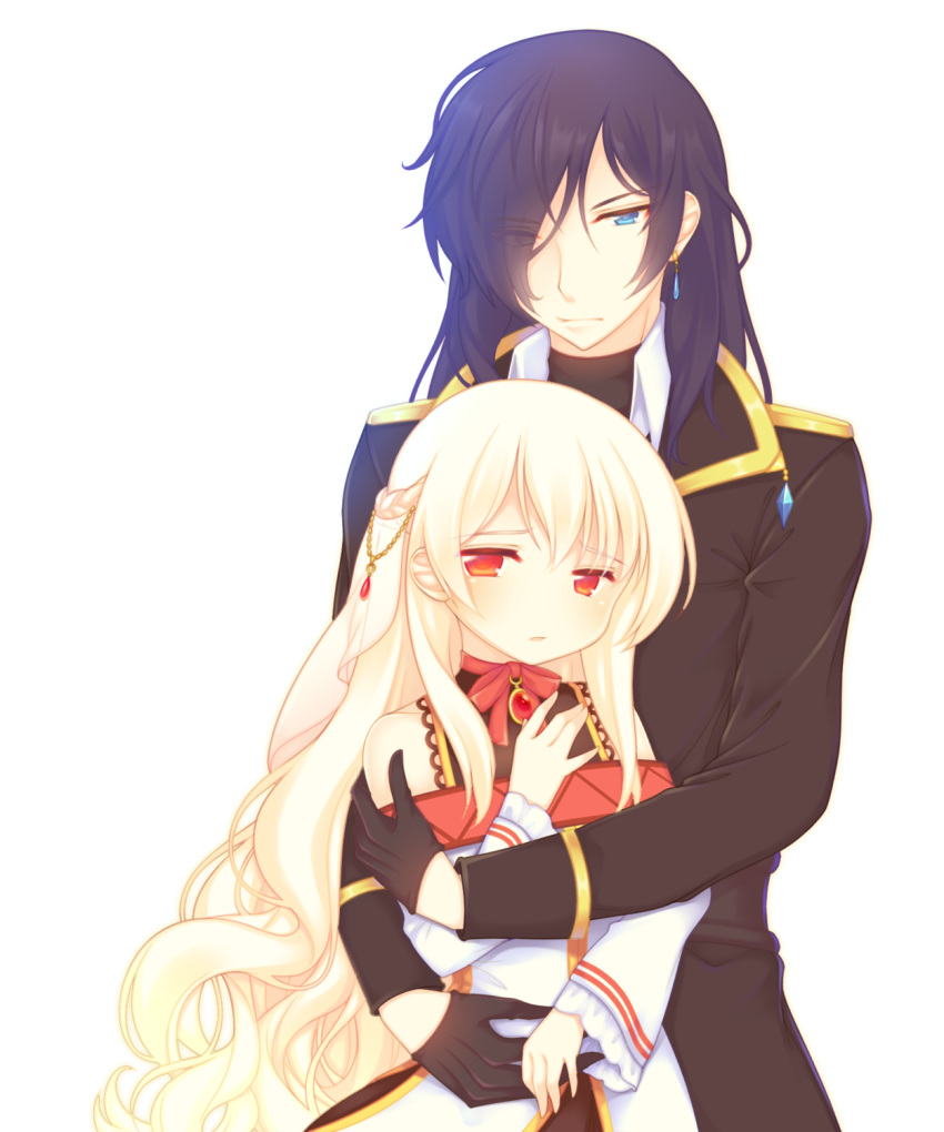 1boy 1girl bangs bare_shoulders black_gloves black_jacket blonde_hair blue_eyes blush bow braid brooch character_request collared_shirt commentary_request dress earrings eyebrows_visible_through_hair eyes_visible_through_hair gloves hair_between_eyes hair_ornament hair_over_one_eye half_gloves highres hug hug_from_behind jacket jewelry long_hair long_sleeves off-shoulder_dress off_shoulder parted_lips purple_hair red_bow red_eyes sakurato_ototo_shizuku shirokami_project shirt very_long_hair white_dress white_shirt wide_sleeves