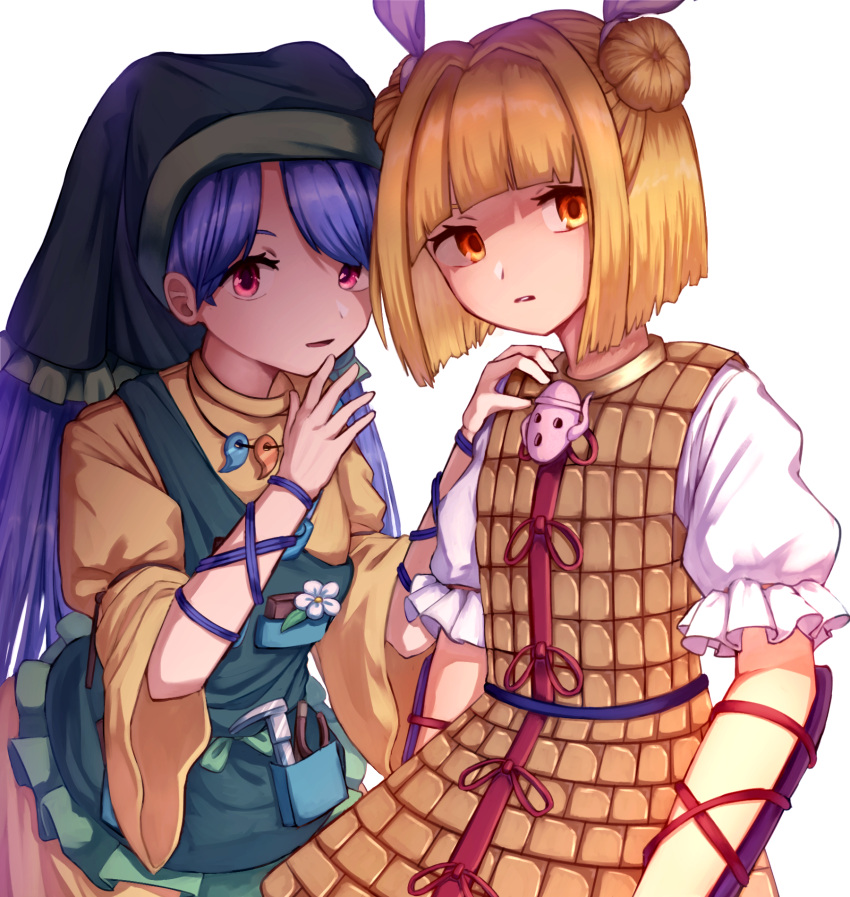 2girls apron arm_ribbon arm_up armor arms_at_sides arms_up bangs blonde_hair blue_hair blunt_bangs bob_cut caliper commentary_request double_bun dress flower green_headwear hair_ribbon hand_on_another's_shoulder hand_on_own_chin haniwa_(statue) haniyasushin_keiki head_tilt highres hood joutouguu_mayumi long_hair long_sleeves looking_at_viewer magatama magatama_necklace mozuno_(mozya_7) multiple_girls orange_eyes parted_bangs parted_lips pink_eyes puffy_short_sleeves puffy_sleeves ribbon shirt short_hair short_sleeves simple_background tools touhou upper_body vambraces very_long_hair white_background white_shirt yellow_dress